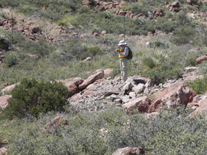 Photo of person with clipboard doing field survey