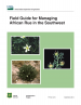 Thumbnail image of Field Guide for Managing African Rue in the Southwest cover with photo of African Rue plant