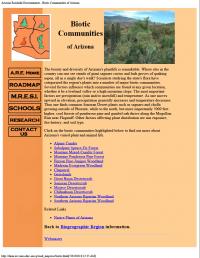 Thumbnail image of Biotic Communities of Arizona webpage
