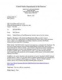Thumbnail image of Updated Bureau of Land Management Sensitive Species List for Arizona document cover