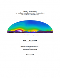 Thumbnail image of Impact Assessment of the Proposed Resolution Copper Mine on Night Sky Brightness: FInal Report document cover