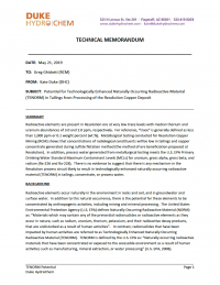 Thumbnail image of Potential for Technologically Enhanced Naturally Occurring Radioactive Material (TENORM) in Tailings from Processing of the Resolution Copper Deposit memo cover
