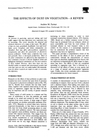 Thumbnail image of The Effects of Dust on Vegetation journal article first page