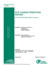 Thumbnail image of Site Characterization Report for the West Plant Site, Superior, Arizona report cover
