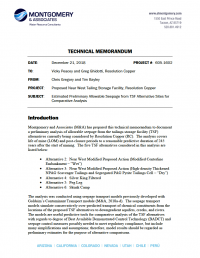 Thumbnail image of Estimated Preliminary Allowable Seepage from TSF Alternative Sites for Comparative Analysis memo cover