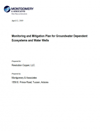 Thumbnail image of Monitoring and Mitigation Plan for Groundwater Dependent Ecosystems and Water Wells document cover