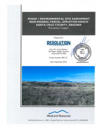 Thumbnail image of Phase I Environmental Site Assessment, Non-Federal Parcel, Appleton Ranch report cover