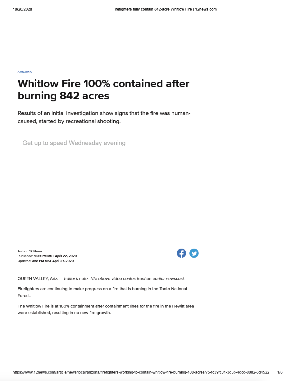 Thumbnail image of document cover: Whitlow Fire 100% Contained After Burning 842 Acres