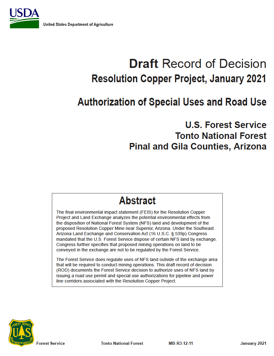 Thumbnail image of document cover: Draft Record of Decision