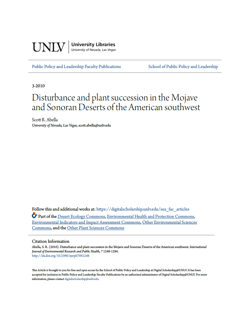 Thumbnail image of document cover: Disturbance and Plant Succession in the Mojave and Sonoran Deserts in the American Southwest