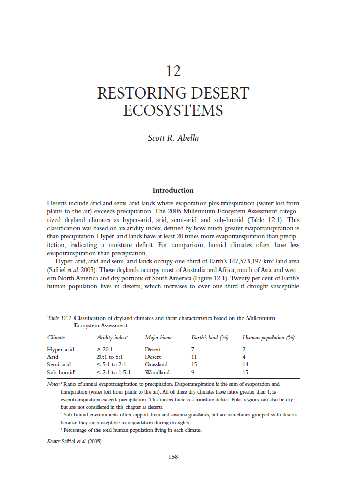 Thumbnail image of document cover: Restoring Desert Ecosystems