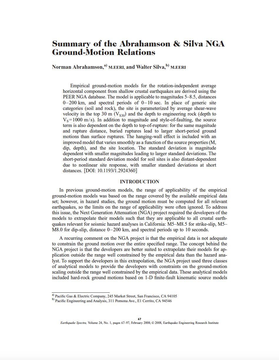 Thumbnail image of document cover: Summary of the Abrahamson and Silva NGA Ground Motion Relations