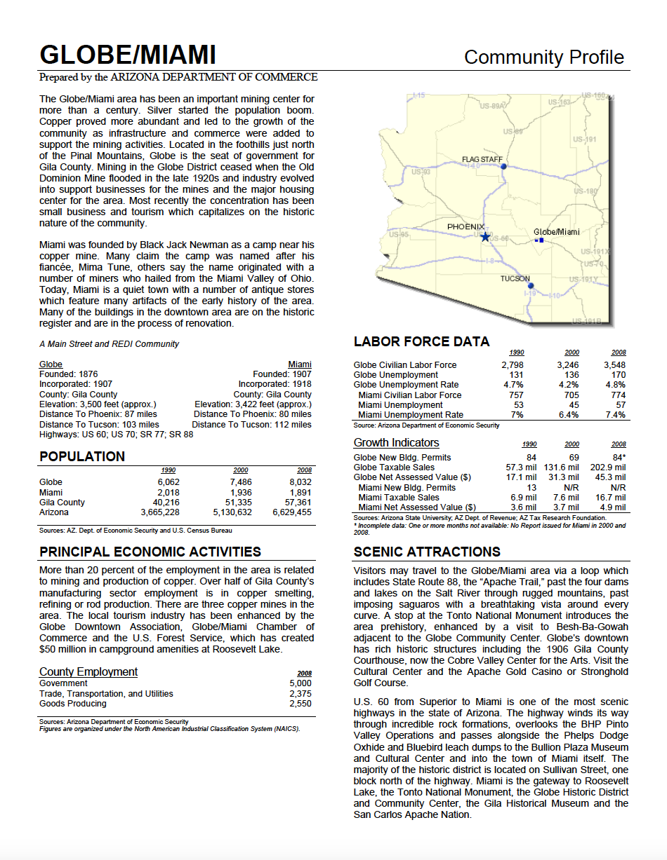 Thumbnail image of document cover: Community Profile - Globe-Miami, Arizona