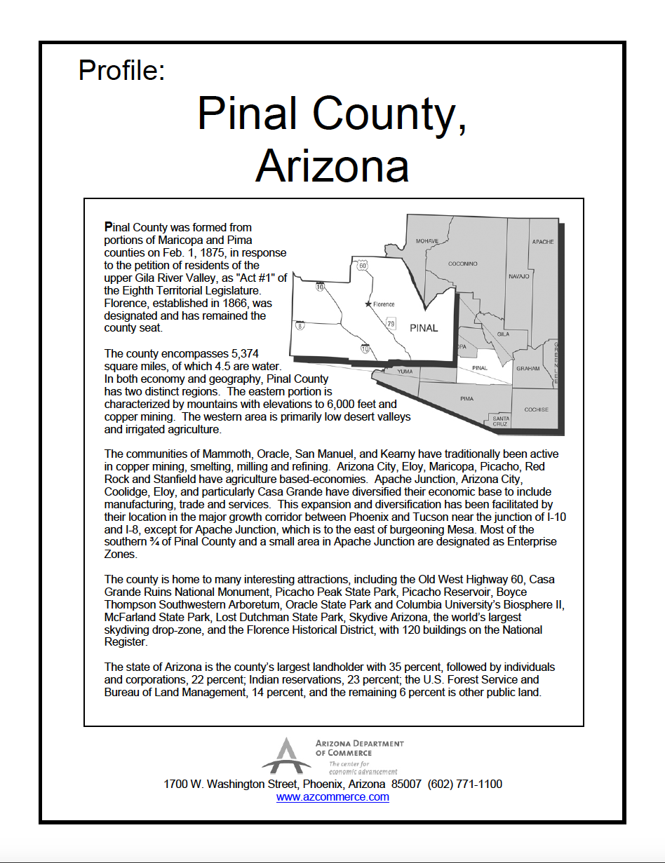 Thumbnail image of document cover: Community Profile - Pinal County