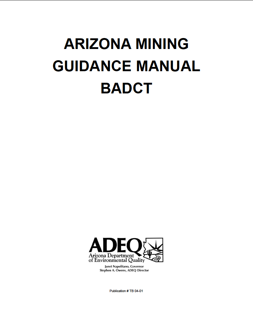 Thumbnail image of document cover: Arizona Mining Guidance Manual BADCT, Aquifer Protection Program