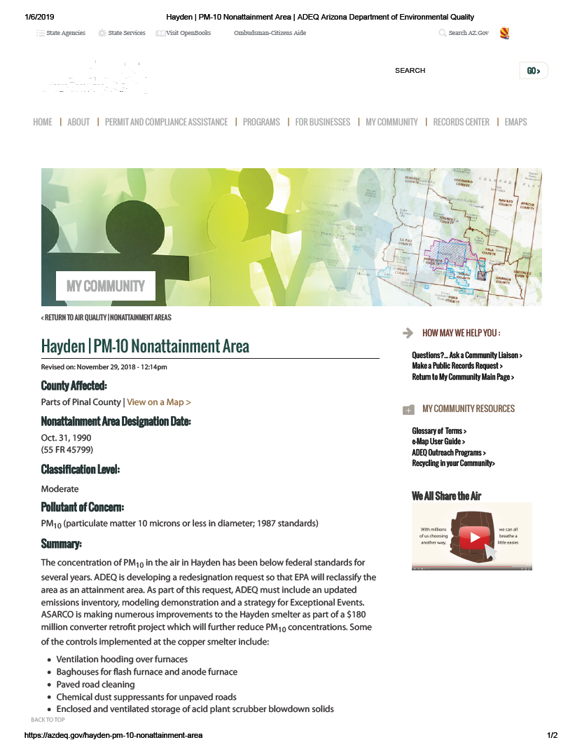Thumbnail image of document cover: Hayden PM-10 Nonattainment Area