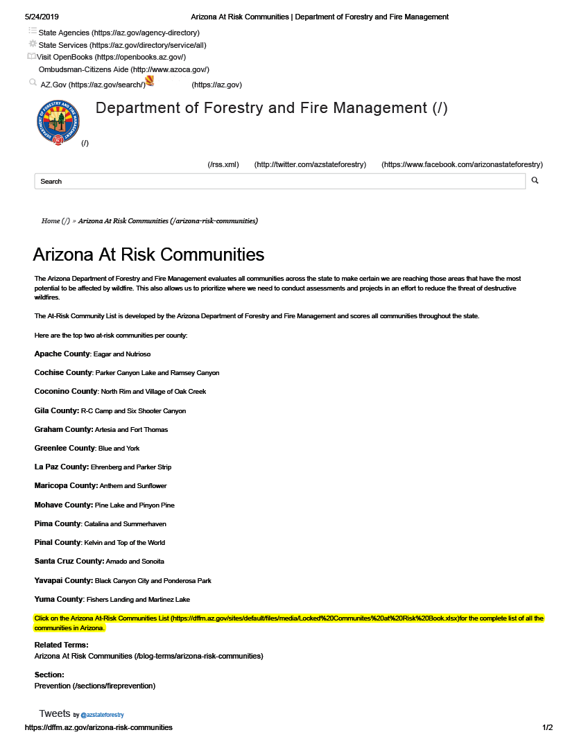 Thumbnail image of document cover: Arizona Communities at Risk