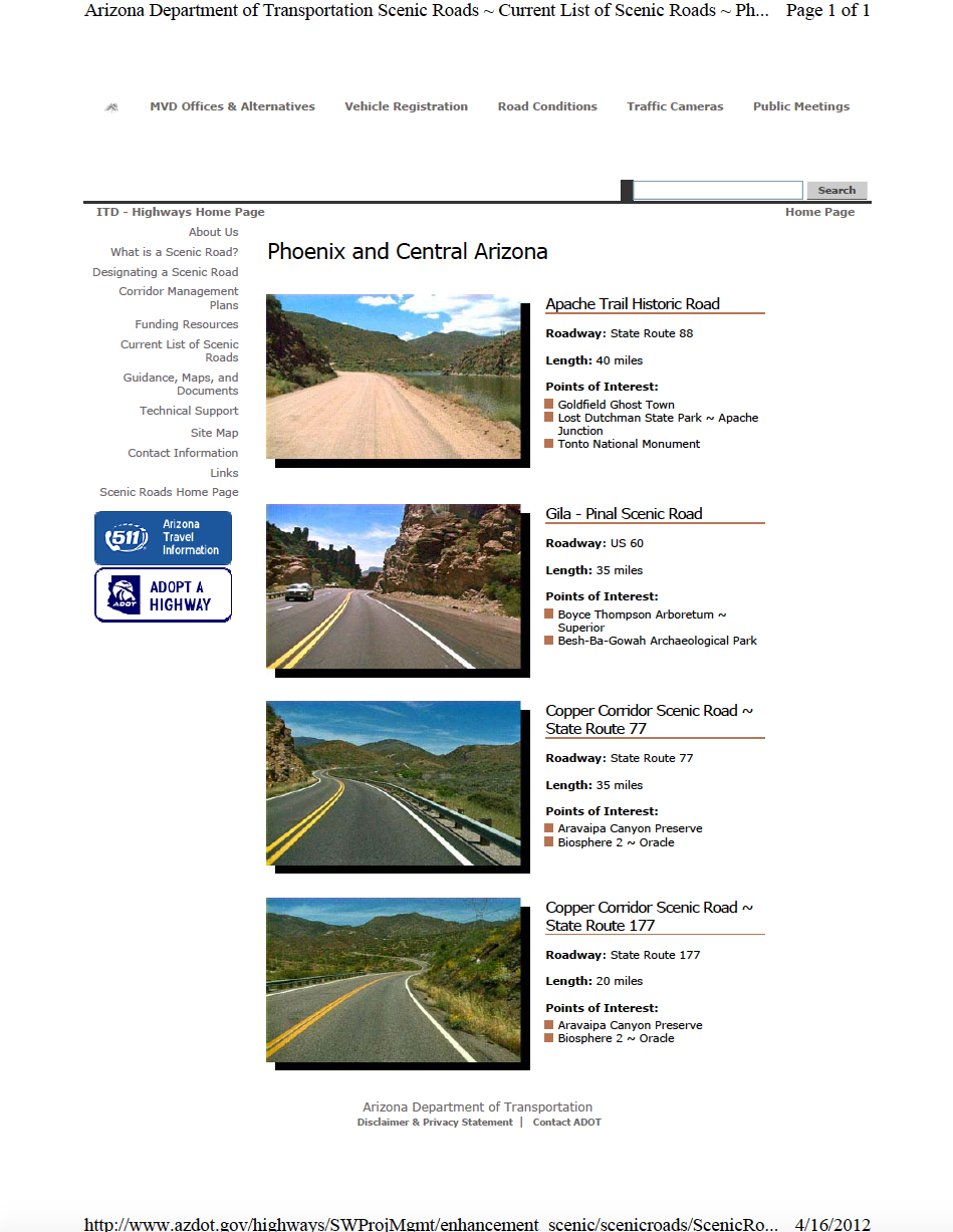 Thumbnail image of document cover: Current List of Scenic Roads - Phoenix and Central Arizona