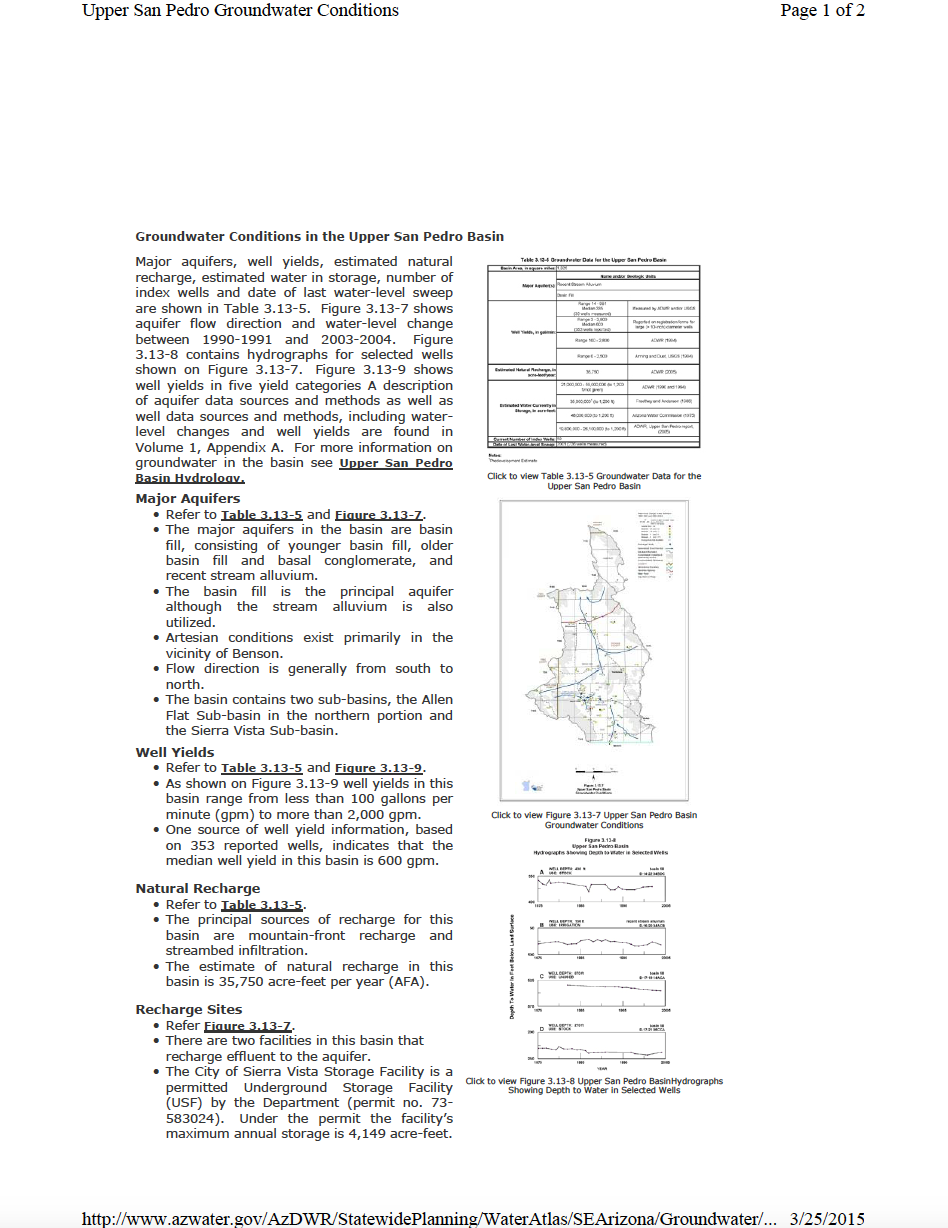 Thumbnail image of document cover: Groundwater Conditions in the Upper San Pedro Basin