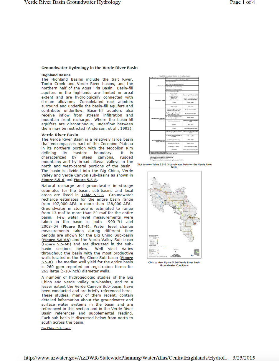 Thumbnail image of document cover: Groundwater Hydrology of the Verde River Basin