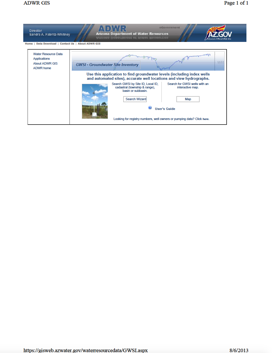 Thumbnail image of document cover: Groundwater Site Inventory (GWSI) Database