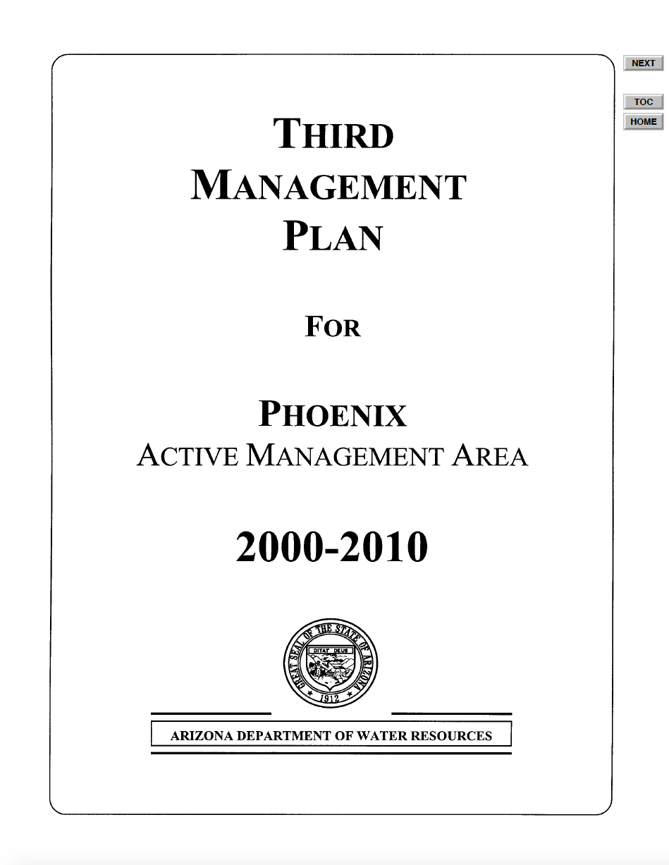 Thumbnail image of document cover: Third Management Plan for Phoenix Active Management Area 2000-2010