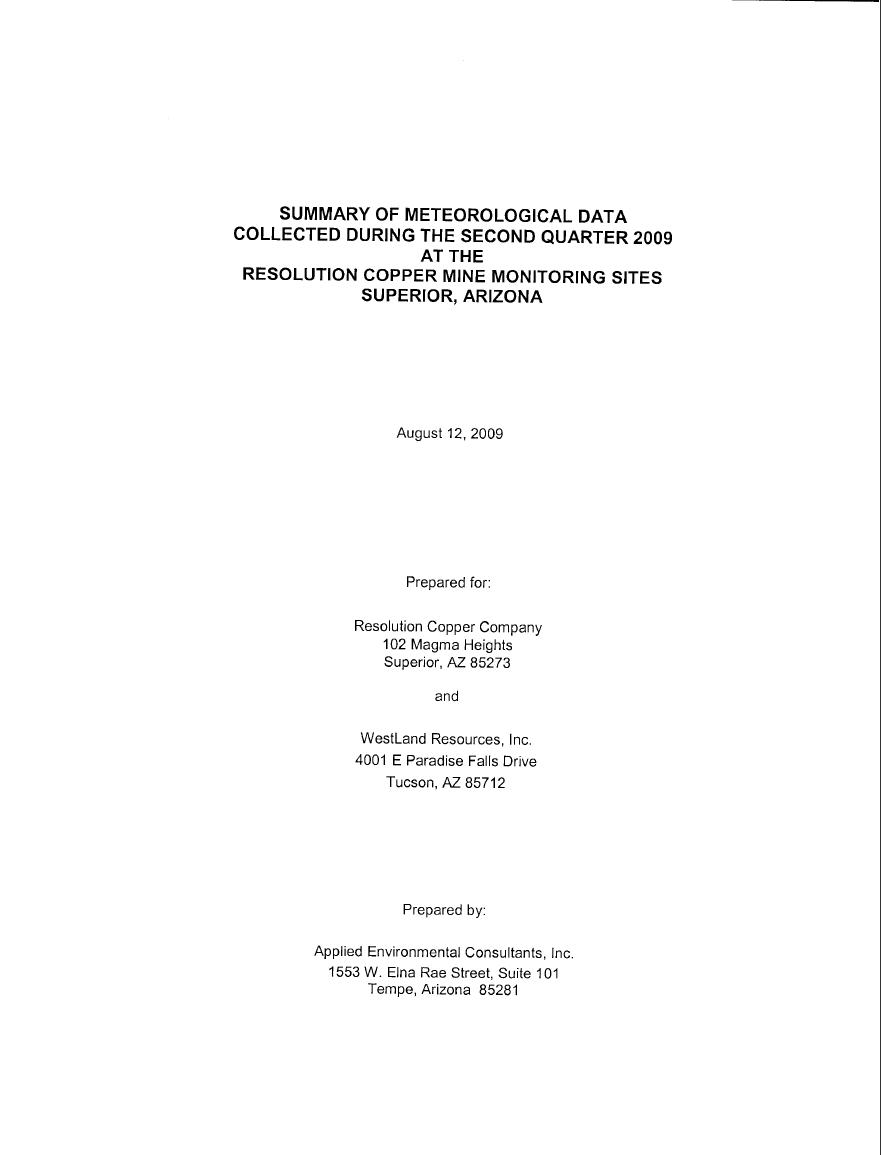 Thumbnail image of document cover: Summary of Meteorological Data Collected During the Second Quarter 2009 at the Resolution Copper Mine Monitoring Sites, Superior, Arizona