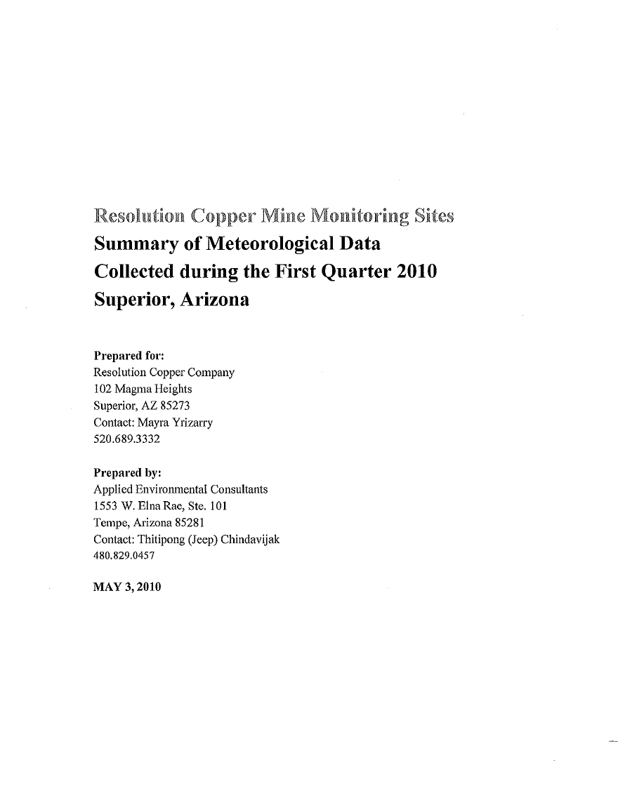 Thumbnail image of document cover: Resolution Copper Mine Monitoring Sites Summary of Meteorological Data Collected During the First Quarter 2010, Superior, Arizona