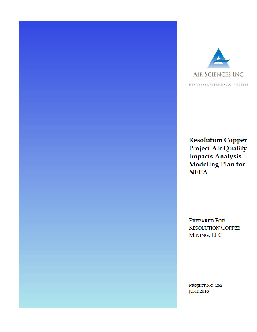 Thumbnail image of document cover: Resolution Copper Project Air Quality Impacts Analysis Modeling Plan for NEPA
