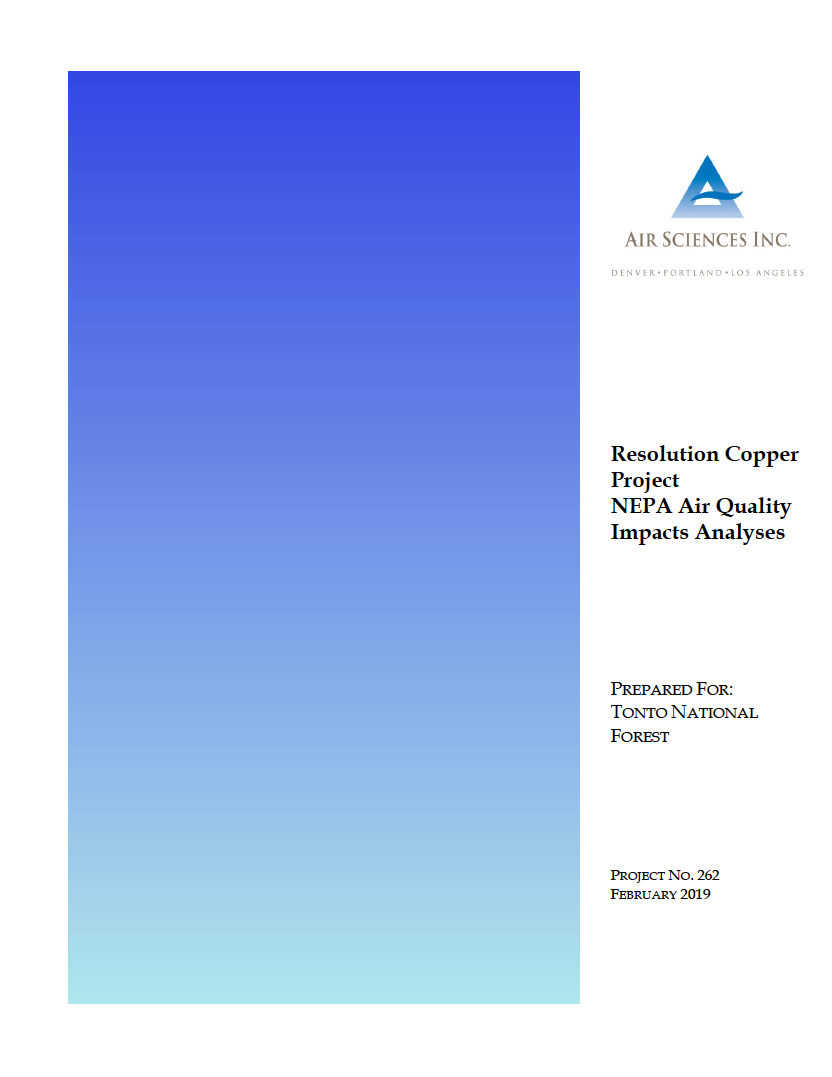 Thumbnail image of document cover: Resolution Copper Project NEPA Air Quality Impacts Analyses