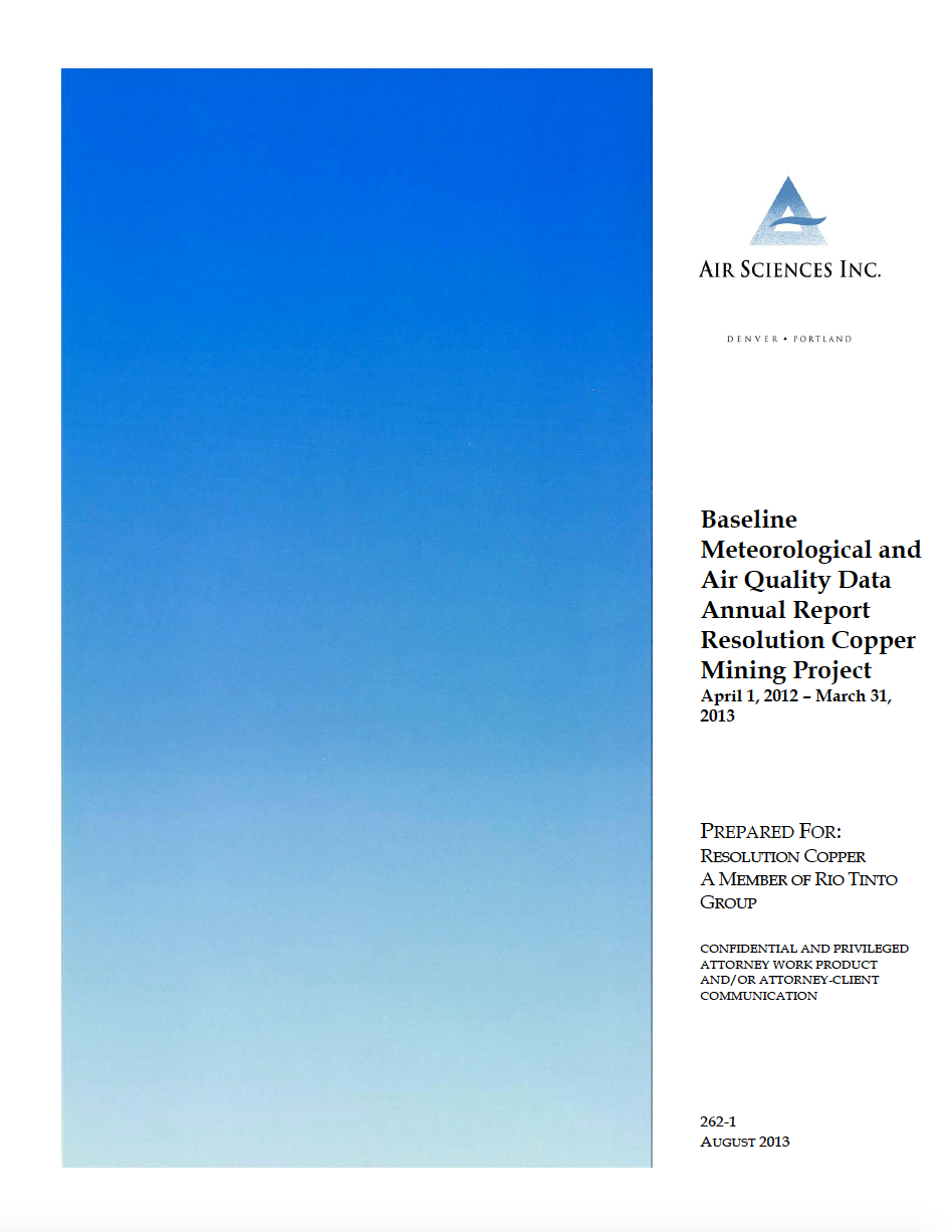 Thumbnail image of document cover: Baseline Meteorological and Air Quality Data Annual Report Resolution Copper Mining Project: April 1, 2012 – March 31, 2013