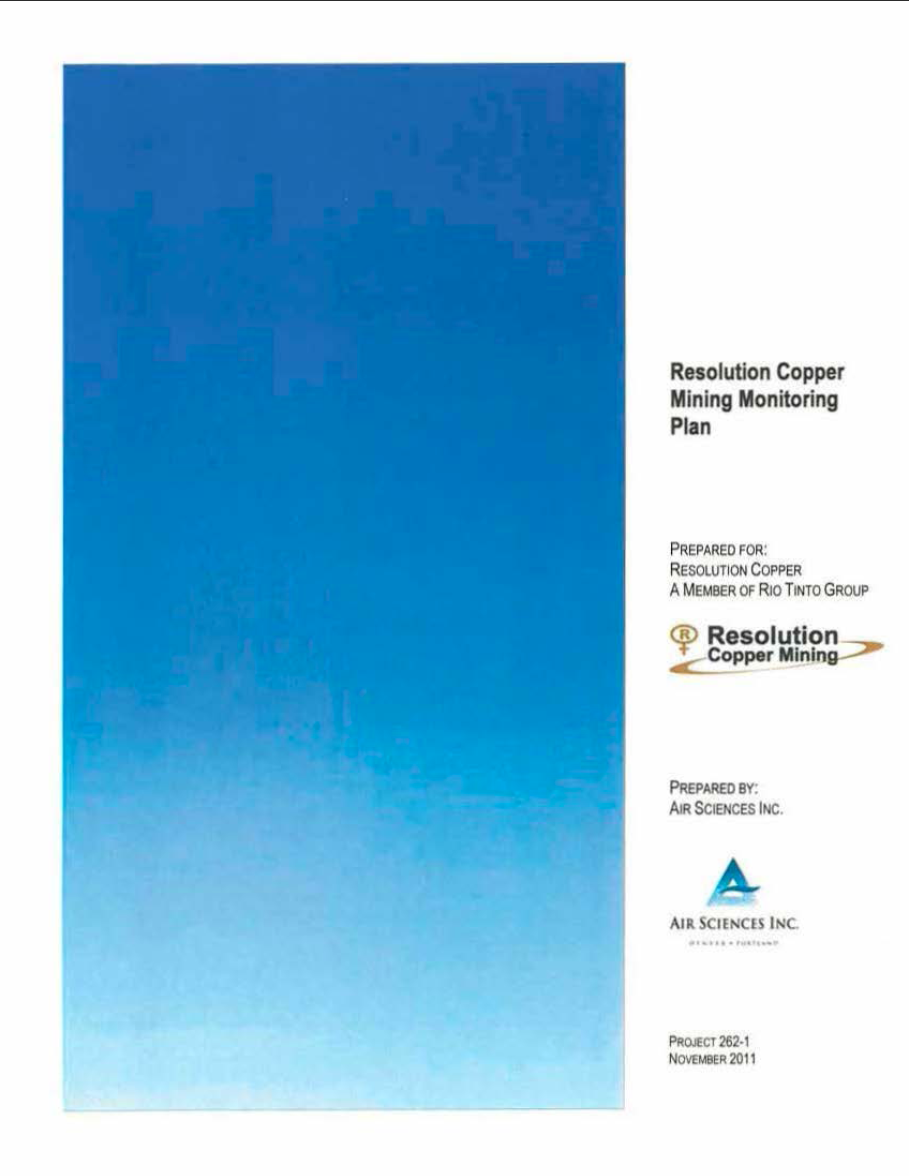 Thumbnail image of document cover: Resolution Copper Mining Monitoring Plan