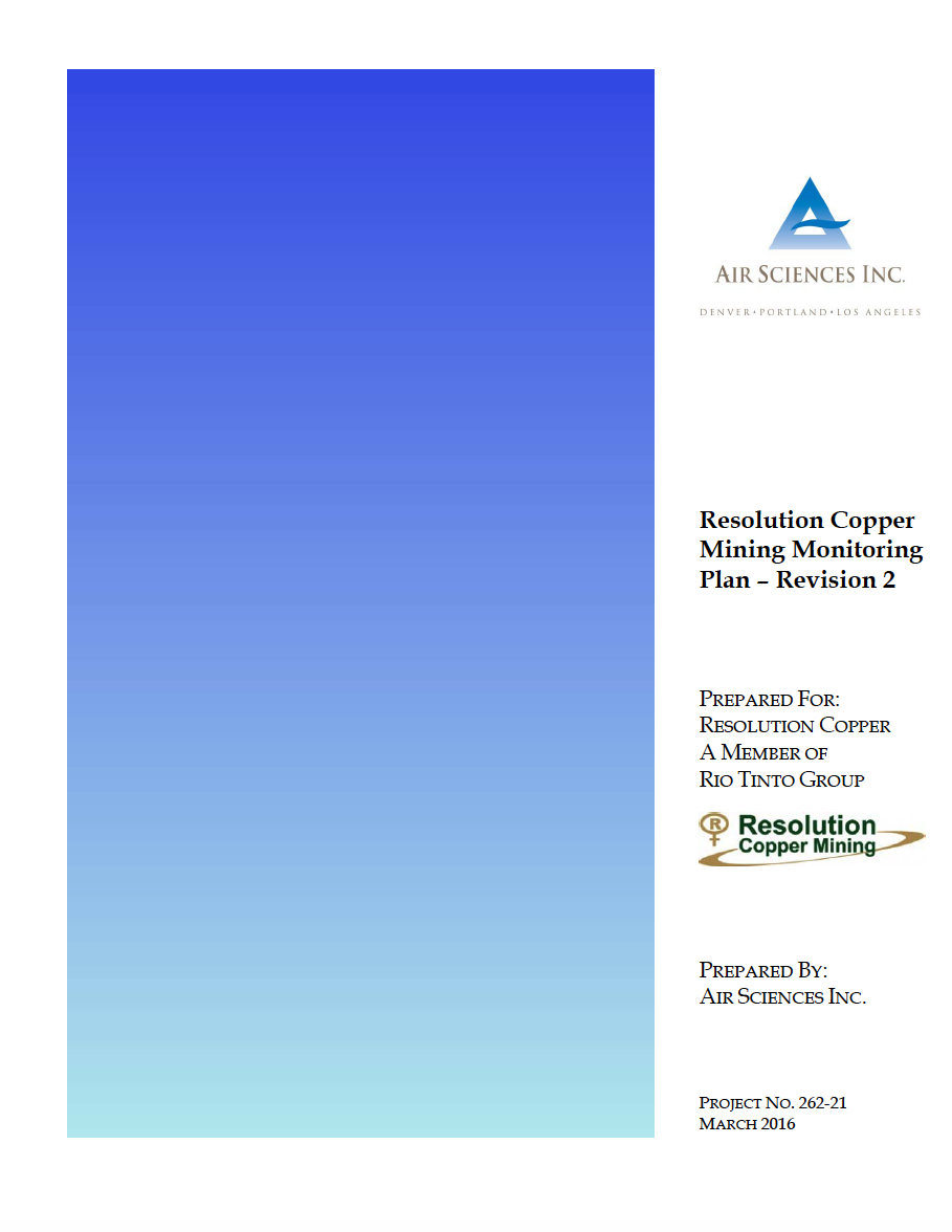 Thumbnail image of document cover: Resolution Copper Mining Monitoring Plan - Revision 2