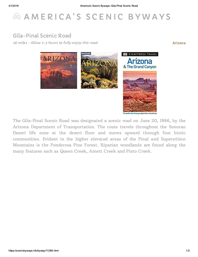 Thumbnail image of document cover: Gila-Pinal Scenic Road