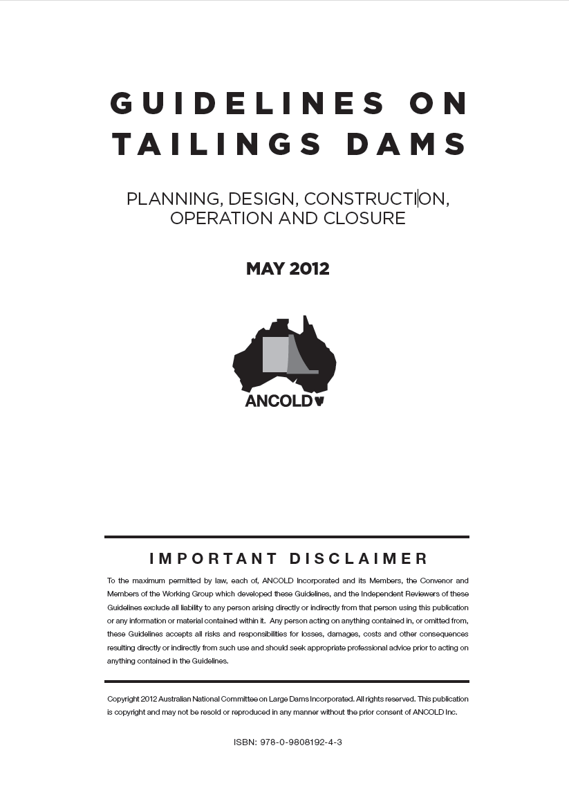 Thumbnail image of document cover: Guidelines on Tailings Dams: Planning, Design, Construction, Operation and Closure