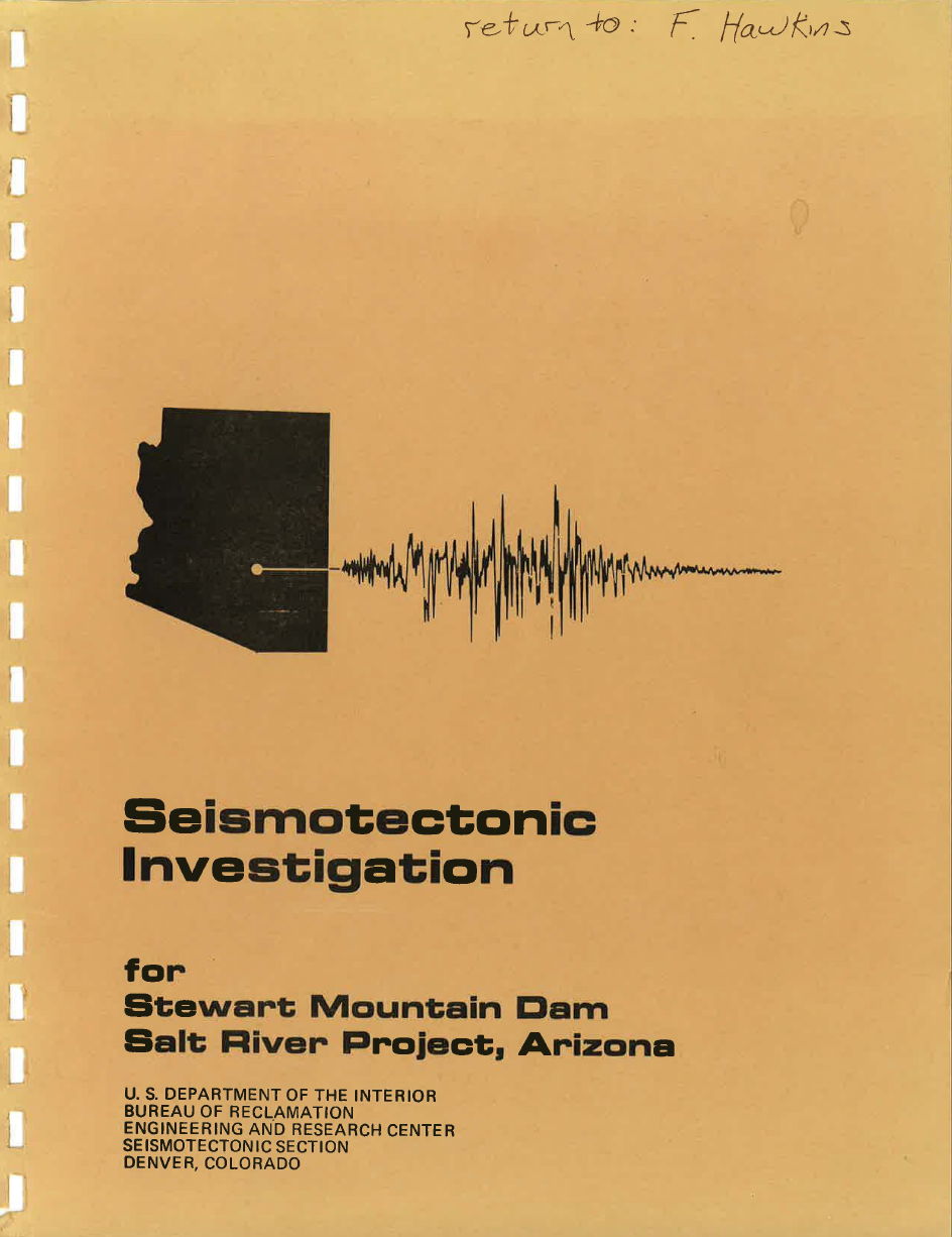 Thumbnail image of document cover: Seismotectonic Investigations, Stewart Mountain Dam, Salt River Project, Arizona
