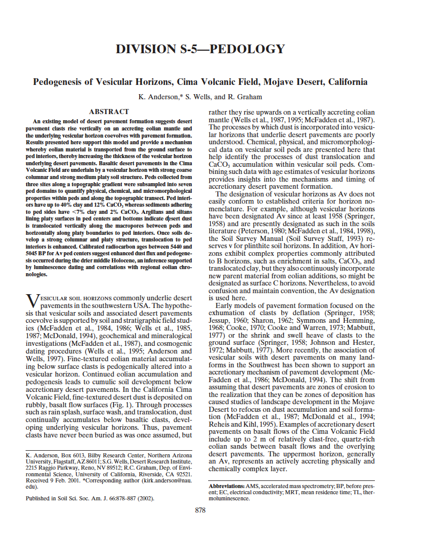 Thumbnail image of document cover: Pedogenesis of Vesicular Horizons, Cima Volcanic Field, Mojave Desert, California