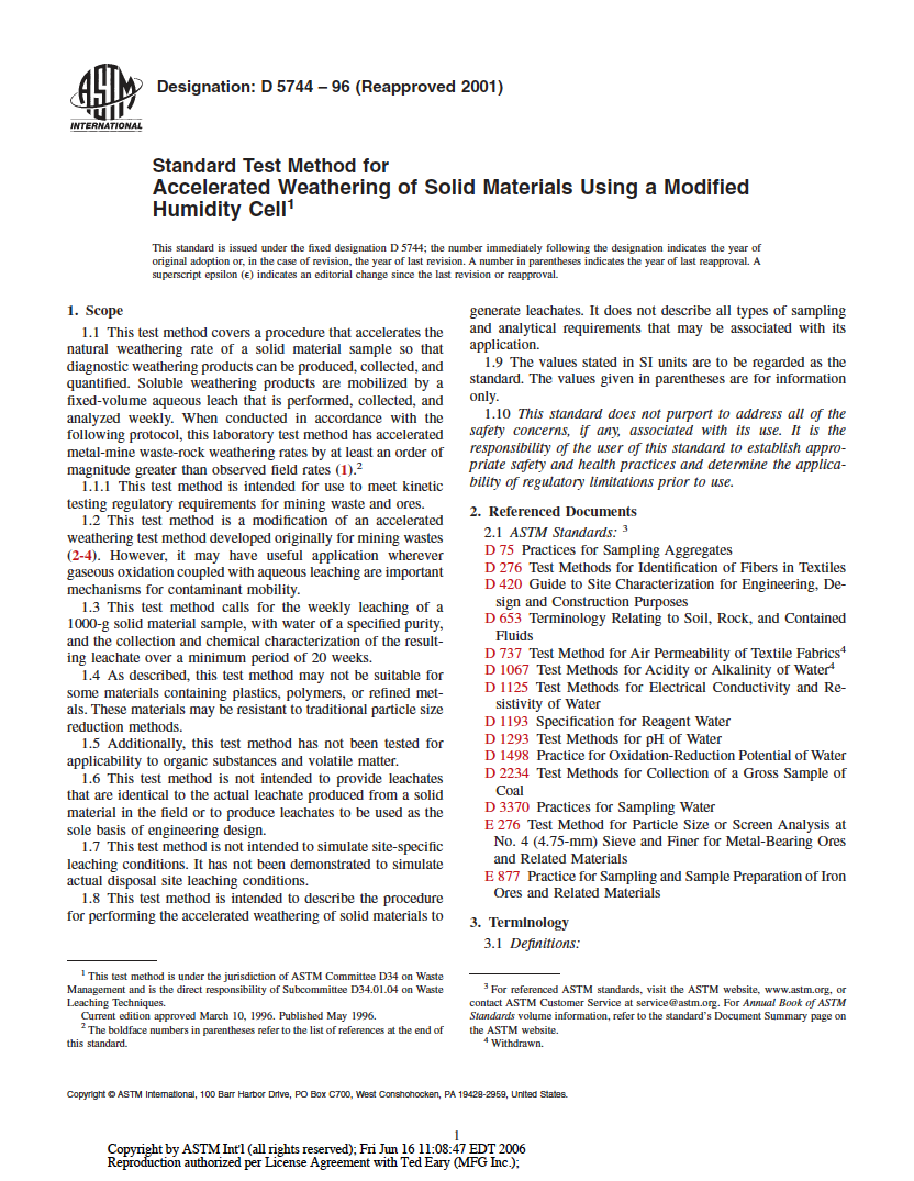 Thumbnail image of document cover: Standard Test Method for Accelerated Weathering of Solid Materials Using a Modified Humidity Cell