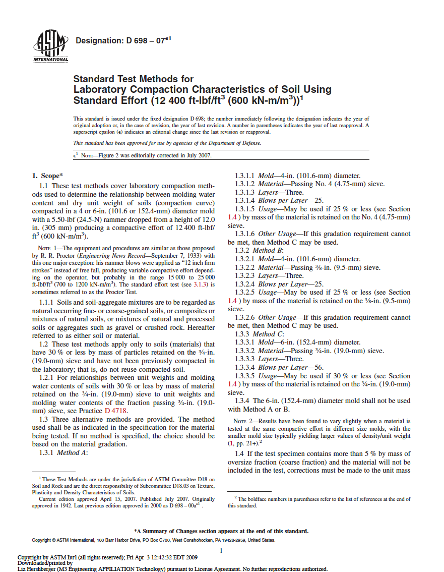 Thumbnail image of document cover: Standard Test Methods for Laboratory Compaction Characteristics of Soil Using Standard Effort (12 400 ft-lbf/ft3 [600 kN-m/m3])