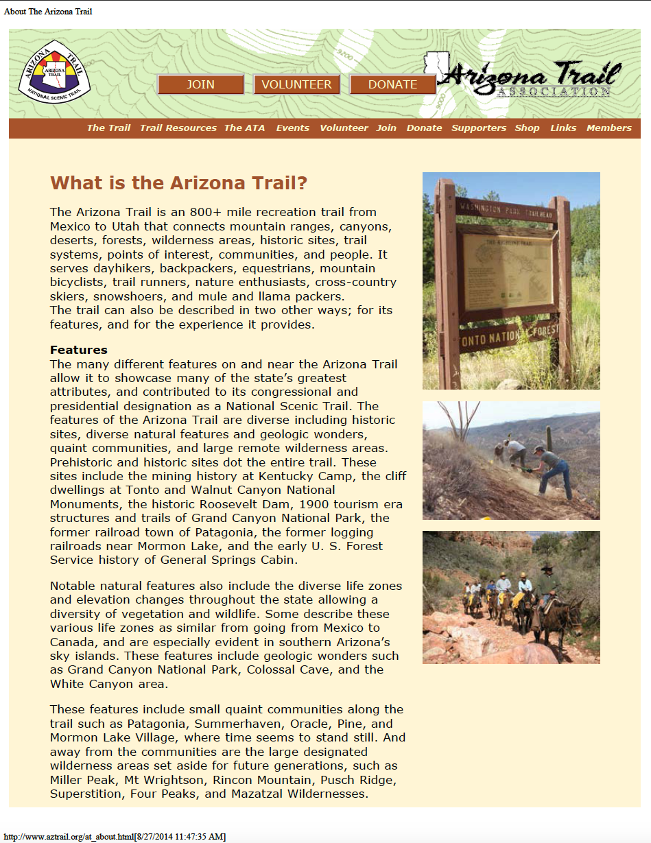 Thumbnail image of document cover: What is the Arizona Trail?