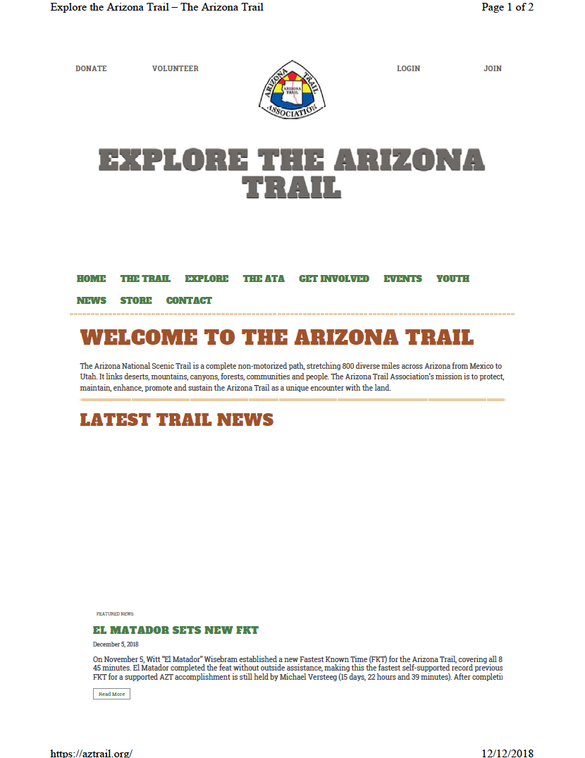 Thumbnail image of document cover: Explore the Arizona Trail
