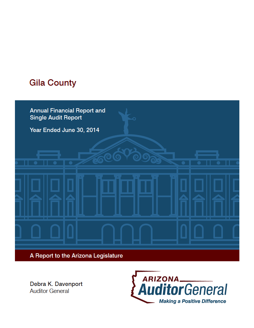 Thumbnail image of document cover: Gila County: Annual Financial Report and Single Audit Report, Year Ended June 30, 2014