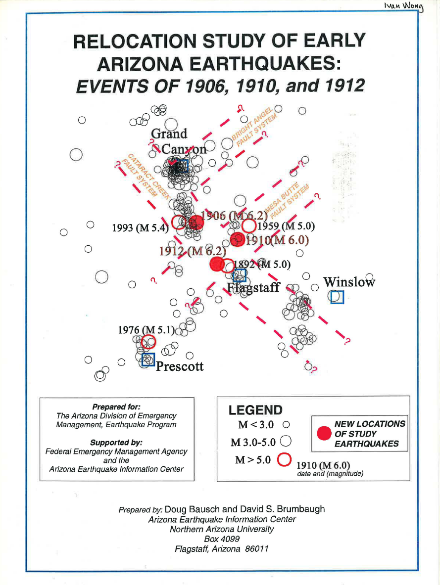Thumbnail image of document cover: Relocation Study of Early Arizona Earthquakes: Events of 1906, 1910, and 1912