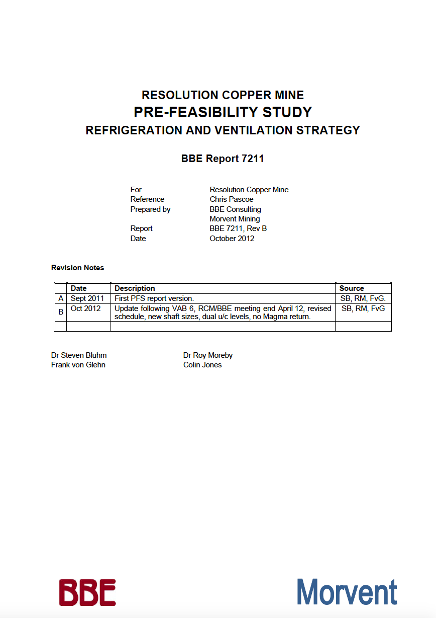 Thumbnail image of document cover: Resolution Copper Mine Pre-Feasibility Study Refrigeration and Ventilation Strategy
