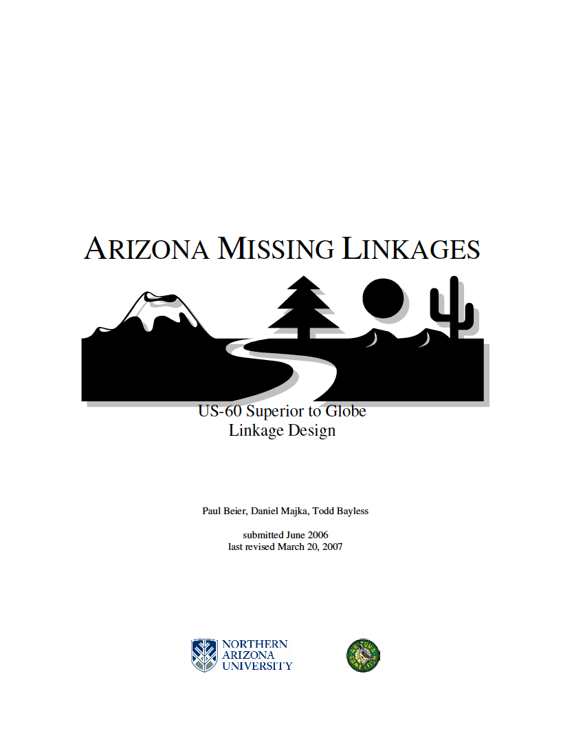 Thumbnail image of document cover: Arizona Missing Linkages US-60 Superior to Globe Linkage Design