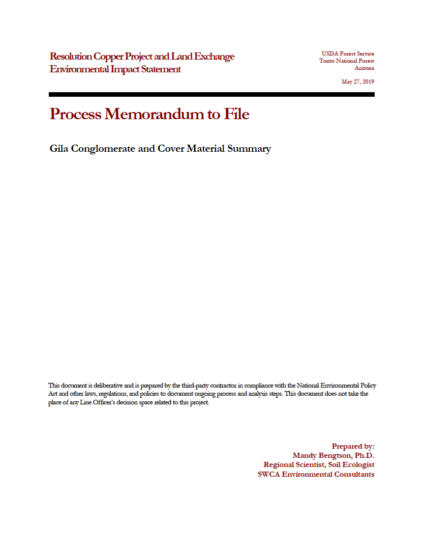 Thumbnail image of document cover: Gila Conglomerate and Cover Material Summary