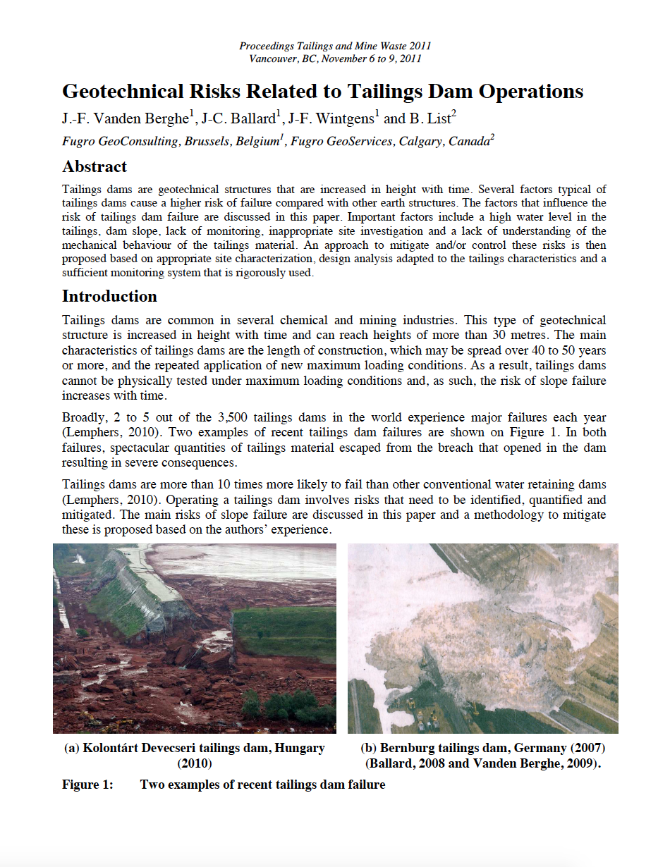 Thumbnail image of document cover: Geotechnical Risks Related to Tailings Dam Operations