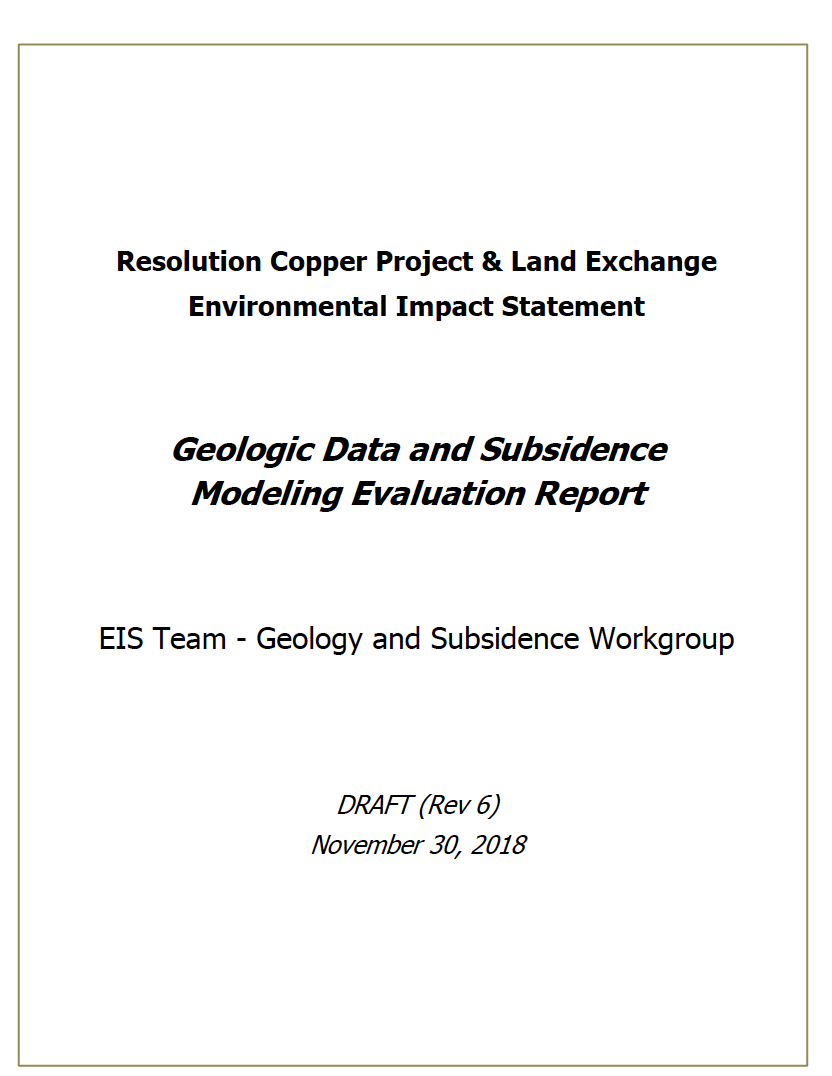 Thumbnail image of document cover: Geologic Data and Subsidence Modeling Evaluation Report