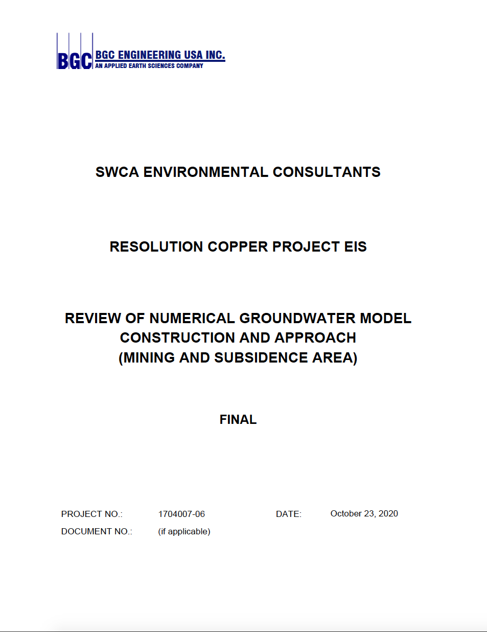 Thumbnail image of document cover: Review of Numerical Groundwater Model Construction and Approach (Mining and Subsidence Area)