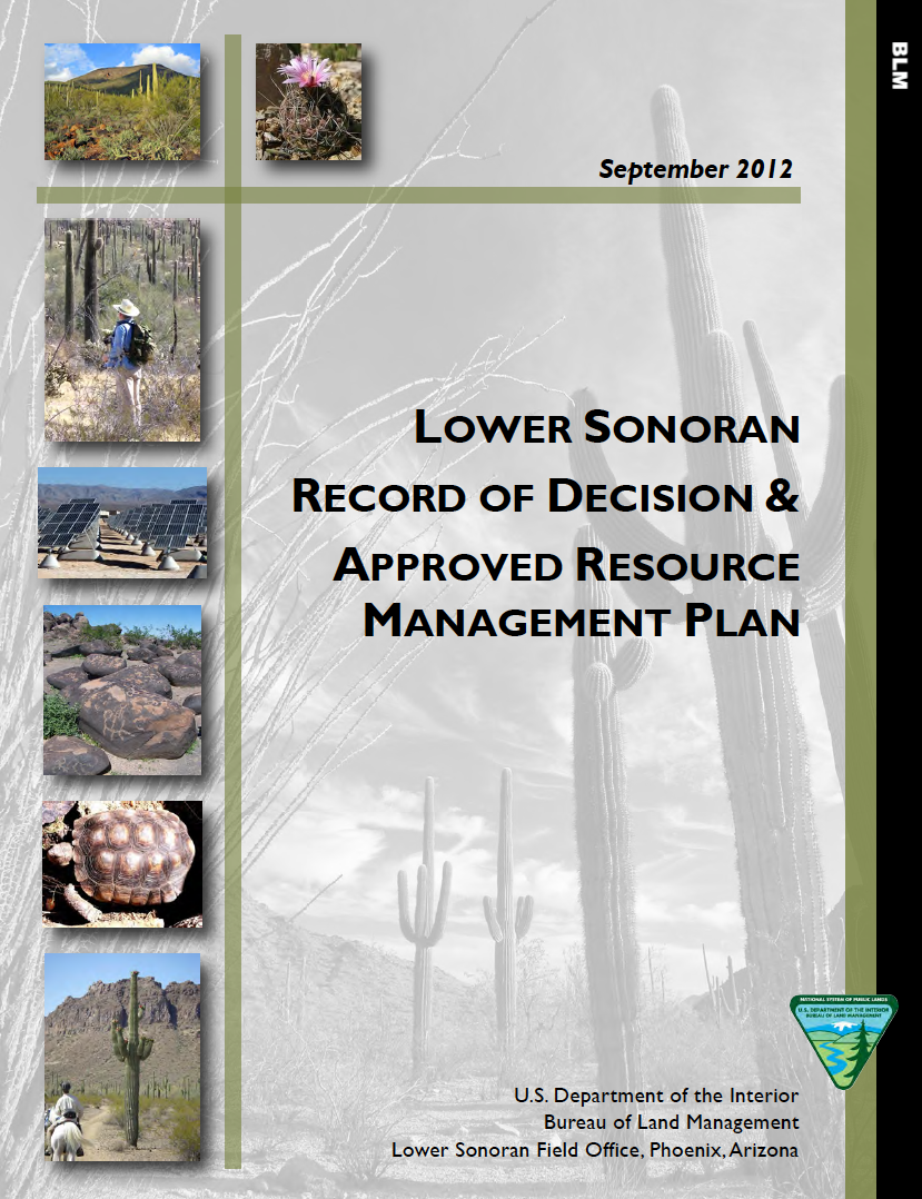 Thumbnail image of document cover: Lower Sonoran Record of Decision and Approved Resource Management Plan